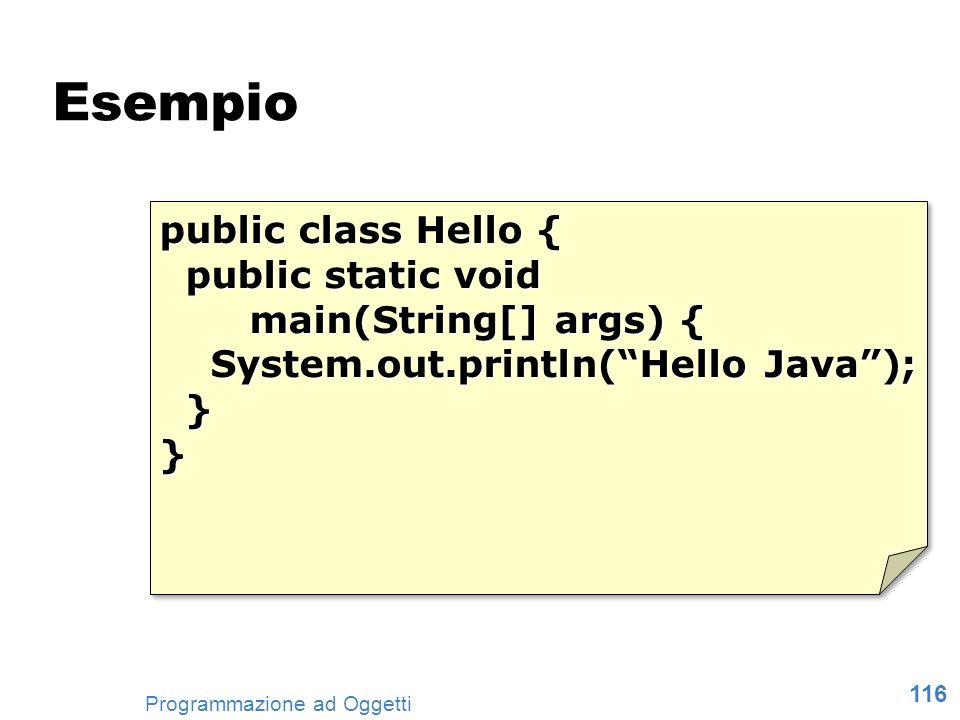 Esempio public class Hello { public static void main(String[] args) {